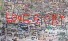 "Denis Robert ""LOVE STORY"" 2009 - 140 x 240 cm - Technique mixte sur toile - ©Galerie W #enquete #denisrobert #galeriew #clearstream #contemporary #art #journalism #finance #lovestory"