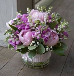 Peonies and lily of the valley