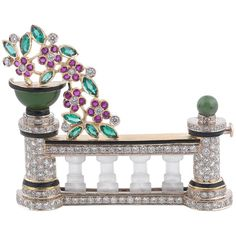 Gem-Set and Diamond Brooch | From a unique collection of vintage Brooches at https://www.1stdibs.com/jewelry/brooches/brooches/.