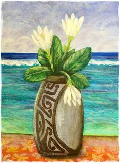 """The proces of the Tiare Tahiti flower bud opening is called in Tahitian """"Umatatea"""". The flower opens slowly in the afternoon over a few hours. Such a pretty sight and a great subject for a painting.  Acrylic on paper 2019, painted on Huahine, Tahiti"""