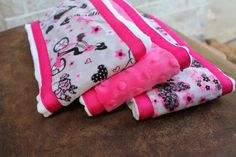 Set of 3 Matching Burp Cloths with Paris Girl Print Minky and Coordinating Heart Minky with Ribbon Edging and Hot Pink Dimple Dot Minky by BabyBin on Etsy