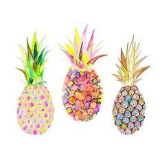 multi color pineapple // watercolor