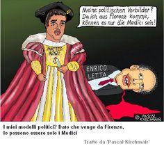 Una vignetta satirica sull'attuale primo ministro Matteo Renzi, di Firenze come i Medici e forse machiavellico come loro.