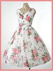 50s/60s Rose Print Chiffon Tea Length Party/Wedding Dress