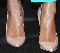 Foot & Leg Tattoos: 39 Celebs With Tattooed Feet and Ankles Rihanna Ankle Tattoo, Ankle Tattoos For Women, Note Tattoo, Celebs, Celebrities, Sexy Heels, Celebrity Feet, Leg Tattoos, Ballet Shoes