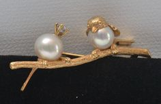 Lovely Vintage Bird Pin with Pearls Diamond and 18K Gold | eBay, Buy-it-Now $800 or Make Offer