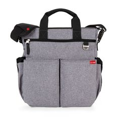 skip hop duo signature | unisex | design | zip-top closure | tote handles | easy-access tech pocket | front panel provides max storage | heather grey | grey and white chevron