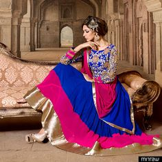 Floor touch Anarkali suit in blue color