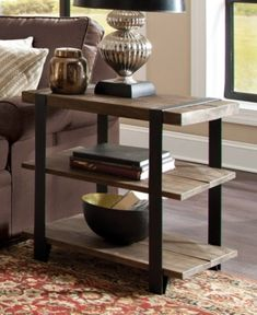 Carbon Loft Kenyon Natural Metal Strap and Reclaimed Wood End Table (End Table with Shelf, Rustic Natural), Brown Western Furniture, Metal Furniture, Industrial Furniture, Rustic Furniture, Diy Furniture, Furniture Outlet, Modern Furniture, Online Furniture, Antique Furniture