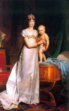 Empress Marie Louise of France. Napoleon's second wife. The baby is Napoleon Francois Joseph Charles Bonaparte. c. 1812.