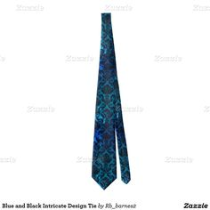Blue and Black Intricate Design Tie