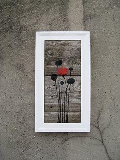SOLD  Poppy Barnwood Wall Art by Mazgear on Etsy, $100.00