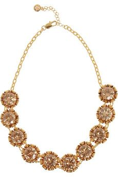Tory Burch Leah gold-plated crystal necklace   NET-A-PORTER ; So simple, yet beautiful. Transforms and completes any look.