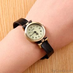 Retro Unicyclic Multicolor Choose Roman Numeral Cowhide Leather Girl Watch only $8.99 in ByGoods.com!