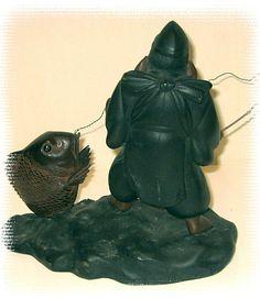 японская антикварная бронзовая статуэтка Эбису, 1900-е гг.