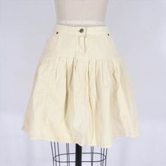 28.99$  Watch here - http://virtu.justgood.pw/vig/item.php?t=4eeukt19278 - 8 - ANNA SUI Anthropologie Unique Ivory Corduroy Cotton Pleated Skirt 1110GB