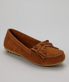 Take a look at this Tan Fringe Moccasin by Shoes of Soul on #zulily today!