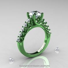 Exclusive Classic 14K Green Gold 1.0 Ct Diamond Cluster Designer Solitaire Ring R258-14KGGD-1