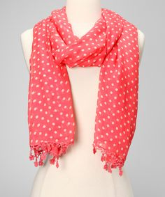 Coral Polka Dot Merino Wool Scarf | Daily deals for moms, babies and kids