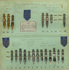 Gold and silver steel pens,  Zion Office Supply,  Zion, IL, 1912