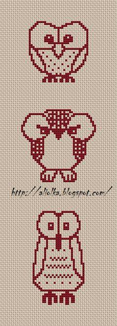 Cross-stitched owls. [aliolka.blogspot.com]