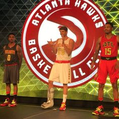 Kyle Korver, Jeff Teague and Kent Bazemore showing off the new uni's #Hawks
