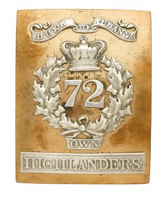 British; 72nd (or Duke of Albany's Own Highlanders), Officer's shoulder belt plate, pre 1881(1881 became 1st Battalion Seaforth Highlanders)