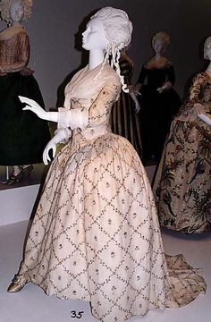 Robe à l'Anglaise  Date: 1784–87 Culture: French Medium: cotton, metal, silk Dimensions: Length at CB (a): 63 in. (160 cm) Length at CB (b): 36 in. (91.4 cm) Credit Line: Purchase, Isabel Shults Fund and Irene Lewisohn Bequest, 1991 Accession Number: 1991.204a, b