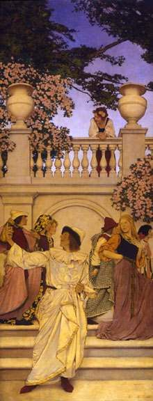 A call to Joy 1910 This work was created to try and convince the Curtis Publishing Company to commission Parrish for an 18 panel work..the Forentine Fete.