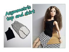 How to make Barbie dress - asymmetric top and skirt - top e gonna asimmetrica - DIY tutorial <br> Sewing Barbie Clothes, Barbie Sewing Patterns, Doll Clothes Patterns, Barbie Song, Barbie Dress, Barbie Organization, Diy Barbie Furniture, Doll Wardrobe, Barbie Accessories