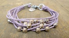 Beaded Bracelet Eco-friendly friendship beadwork lilac multi strand with silver beads - fiber jewelry - textile jewelry