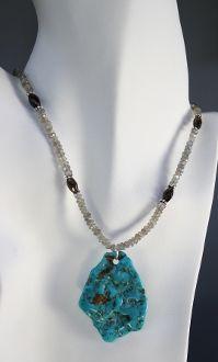 Turquoise pendant, labradorite, smokey quartz and sterling silver necklace - $125