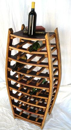Large Narrow Wine Rack - Medoc - Made from reclaimed California wine barrels - Recycled and Fre Barrel Projects, Wood Projects, Large Spice Rack, Wine In The Woods, Wine Barrel Crafts, Whiskey Barrel Furniture, Barris, Barolo Wine, Wine Bottle Rack