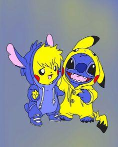 Bff Stitch And Pikachu Dolby Bffstitch Dolby Pikachu Dessins Disney Dessins Mignons Dessin Stitch