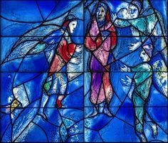 Pfarrkirche Mainz St. Stephan, Germany. (Ausschnitt aus dem Chorfenster Mitte)   SWAROVSKI  Kirchenfenster von Marc Chagall gehören zum Weltkulturerbe.