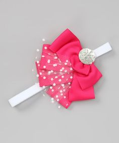 Take a look at this Hot Pink Polka Dot Lace Headband by Chicaboo on #zulily today!