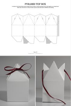 A variation of the Pyramid Box (previous page), this box provides a vertical presentation that is held together by a threaded satin ribbon that is then tied in to a bow. It's able to open and close with ease for fulfillment and unboxing. Box Packaging Templates, Packaging Dielines, Ecommerce Packaging, Packaging Design, Packaging Ideas, Buy Tile, Perfume Packaging, Stone Molds, Diy Garden Decor