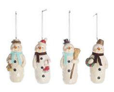 "Creative Co-Op 4-1/2""H Resin Snowman Ornament Set of 4"