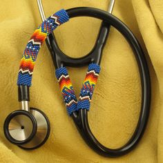 Native American Dark Blue Beaded Stethoscope
