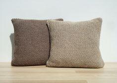 Set Knitting Pillow Beige Pillow Home Decor by GreenCatStudio