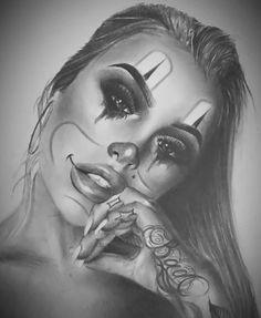 Red Ink Tattoos, Belly Tattoos, Face Tattoos, Body Art Tattoos, Hand Tattoos For Girls, Tattoo Designs For Girls, Tattoos For Guys, Chicanas Tattoo, Clown Tattoo