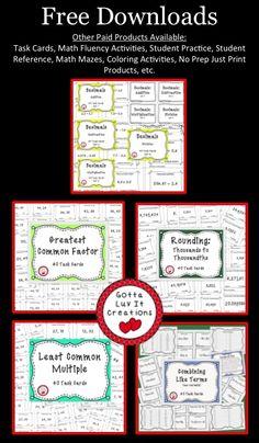 Free task cards: rounding, decimals, greatest common factor, least common multiple, Math Teacher, Math Classroom, Teaching Math, Maths Guidés, Fun Math, Math Stations, Math Centers, Math College, Rounding Decimals
