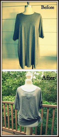 DIY, no sew triangle tee-shirt  *Be careful how far you make the slits in the front. In the back it doesn't matter so much. It was fun making! Great for wearing any day or even cute for over your swimsuit.