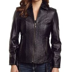 Cripple Creek Women's Hand-Knotted Fringe Leather Jacket
