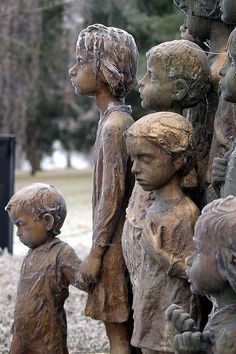 Monument to murdered children of Lidice. Their survived mothers didn't want that faces of statues resembled their children, so the sculptor made their features quite generalized.