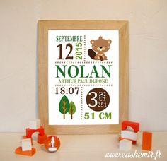 Cadeau naissance, stats de naissance, décoration chambre bébé garçon - Fichier Imprimable - n°16 castor : Décoration pour enfants par cashemir