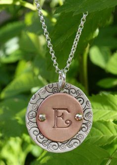 Sterling Silver & Copper Hand Stamped Pendant