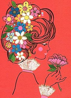 Vintage mod illustration of lady with flowers Art And Illustration, Flower Illustration Pattern, Illustrations, Retro Kunst, Retro Art, Vintage Art, Kunst Inspo, Art Inspo, Pop Art