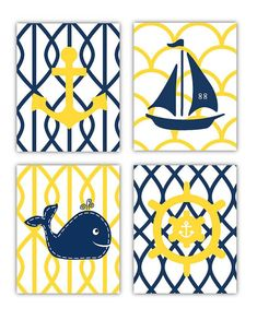 Yellow and Navy Nautical Nursery Wall Art 4 8x10 by LittlePergola, $55.00