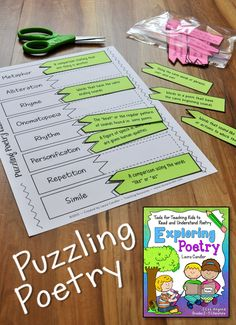 Puzzling Poetry is a fun review game in which kids match poetic devices with their definitions and examples. You'll find this activity in Laura Candler's Exploring Poetry: Tools for Teaching Kids to Read and Understand Poetry. $